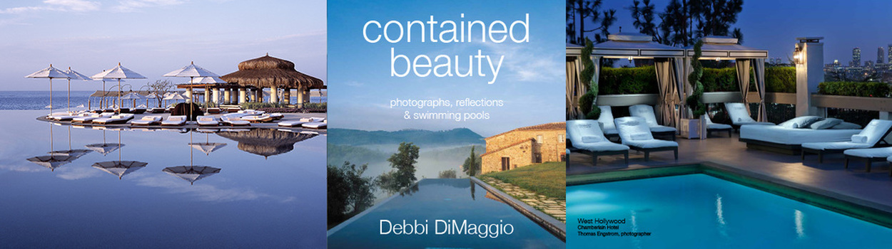 Three image collage with images of water and resorts for Contained Beauty book.